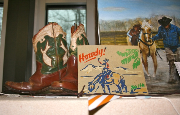 My grandpa was a real Oklahoma cowboy! I decorated Caleb's party with his saddle, blanket, spurs, and boots. What a treasure and so fun to have his memory as part of our special day!