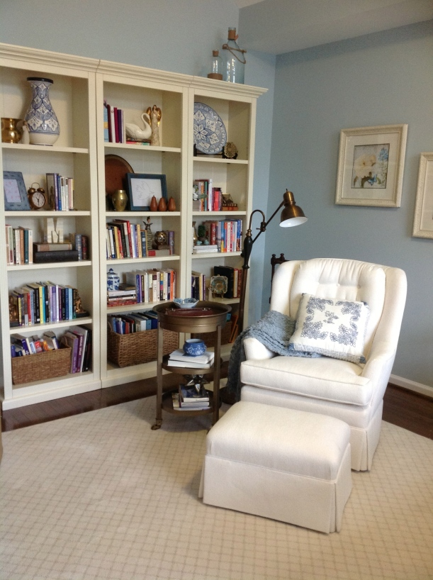 Bookshelf wall and reading nook